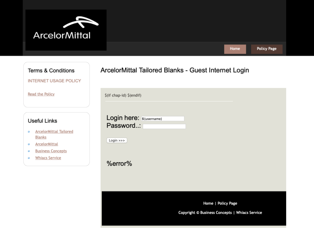 Business Concepts Customized Login Page